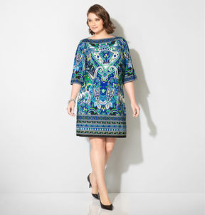 Avenue Cool Paisley Boatneck Dress