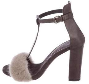 Brunello Cucinelli Mink Monili-Trimmed Sandals