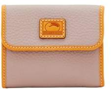 Dooney & Bourke Patterson Leather Small Flap Credit Card Wallet - OYSTER - STYLE