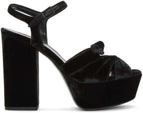 Saint Laurent Black Velvet Farrah Sandals