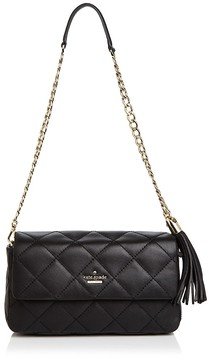 Kate Spade Emerson Place Serena Leather Shoulder Bag - BLACK/GOLD - STYLE