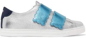 Fendi Metallic Textured-leather Sneakers - Silver