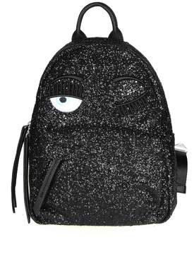 Chiara Ferragni flirting Backpack In Black Glitter