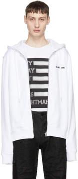 Helmut Lang White Basic Logo Zip Hoodie
