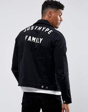 Hype Denim Jacket In Black With Back Print