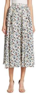 ADAM by Adam Lippes Floral Crepe Gathered Skirt