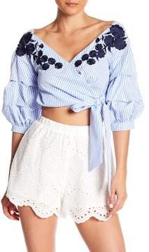 Do & Be Do + Be Embroidered Ruffle Sleeve Top