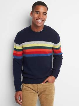 Gap Wool blend chest-stripe crewneck sweater