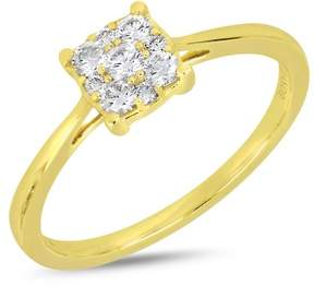 Bony Levy 18K Yellow Gold Pave Diamond Square Accent Ring