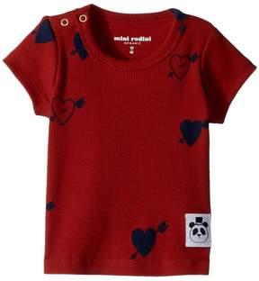 Mini Rodini Heart Rib Short Sleeve T-Shirt Girl's T Shirt