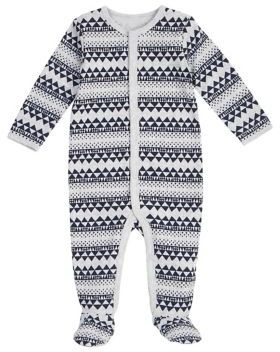 Petit Lem Baby's Thermal Fair Isle Cotton Footie