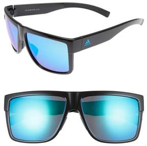 Women's Adidas 3Matic 60Mm Sunglasses - Black Shiny/ Blue Mirror