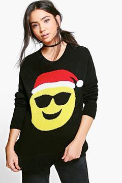 boohoo Katie Sunglasses Emoji Christmas Jumper