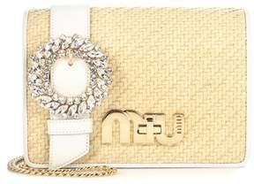 Miu Miu Embellished straw shoulder bag