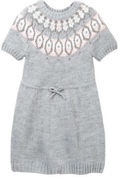 Joe Fresh Fair Isle Short Sleeve Metallic Sweater Dress (Toddler & Little Girls)