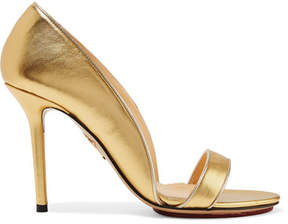 Charlotte Olympia Christine Metallic Leather Pumps - Gold