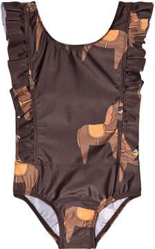 Mini Rodini Brown Horse Ruffled Swimsuit
