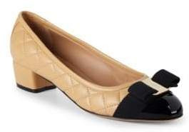Salvatore Ferragamo Bow Quilted Leather Pumps