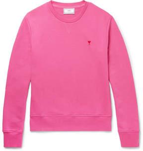Ami Embroidered Loopback Cotton-Jersey Sweatshirt