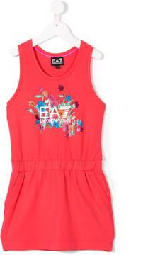 Emporio Armani Kids floral logo print tank dress