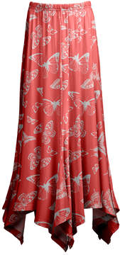 Lily Coral & White Butterfly Handkerchief Skirt - Women & Plus