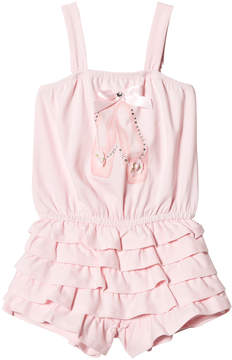 Kate Mack Biscotti Pink Ballerina Shoe Print and Ruffle Playsuit