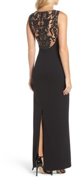 Adrianna Papell Women's Cowl Neck Embroidered Back Gown