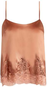 Fleur of England Whiskey lace-hem silk-blend cami top