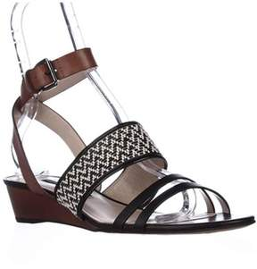 French Connection Wiley Ankle-strap Sandals, Black/white/tan.