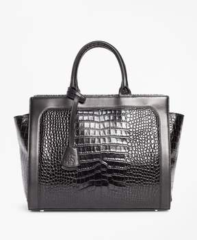 Brooks Brothers Crocodile-Embossed Leather Handbag