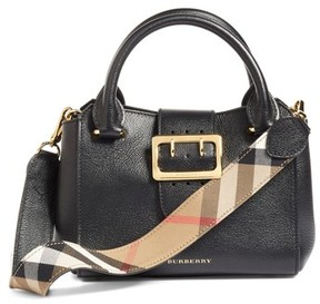 Burberry Small Buckle Leather Satchel - Black - BLACK - STYLE