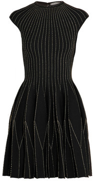 Alexander McQueen Metallic Embroidered Wool-blend Mini Dress - Black