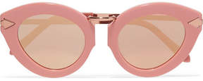Karen Walker Lunar Flowerpatch Cat-eye Acetate And Rose Gold-tone Mirrored Sunglasses - Pink