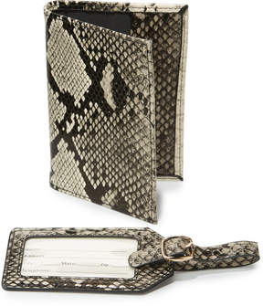 Neiman Marcus Boxed Set Python Embossed Passport Holder & Luggage Tag Set