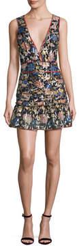 BA&SH Jade Metallic Floral Silk V-Neck Mini Dress, Noir