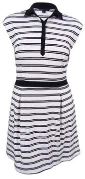 Tommy Hilfiger Women's Striped Fit Flare Dress (White/Black, 12)