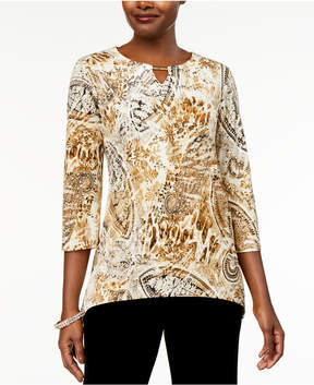 Alfred Dunner Deck the Halls Paisley-Print Keyhole Tunic