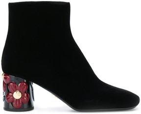 Prada floral heel ankle boots