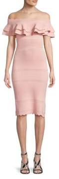 Eliza J Ruffled Off-The-Shoulder Dress