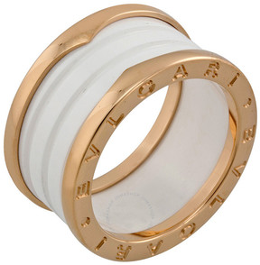 Bvlgari B.zero1 Four Band 18 kt Rose Gold and White Ceramic Ladies Ring - Size 8.25