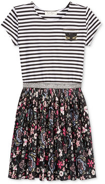Jessica Simpson Striped and Floral Pleated Dress, Big Girls (7-16)