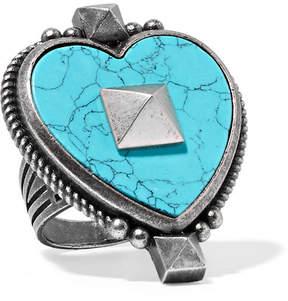 Valentino Burnished Silver-tone Enamel Ring