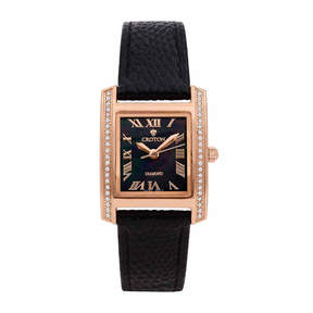 Croton Womens Black Strap Watch-Cn207057rgbk