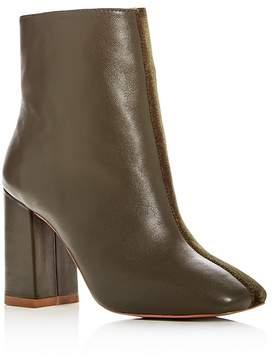 Jaggar Women's Velvet & Leather Block Heel Booties