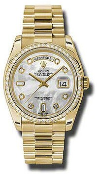 Rolex Day-Date Mother Of Pearl Dial 18K Yellow Gold President Automatic Ladies Watch
