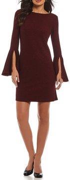 Alex Marie Lynn Knit Lurex Dress with Bell Sleeve Detail