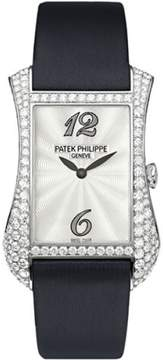 Patek Philippe 4973G 18K White Gold / Satin with Diamond 27.4mm Womens Watch