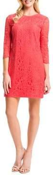 Cynthia Steffe Three-Quarter-Sleeve Lace Shift Dress, Pomegranates