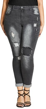 City Chic Rip Patch Jeans in Charcoal