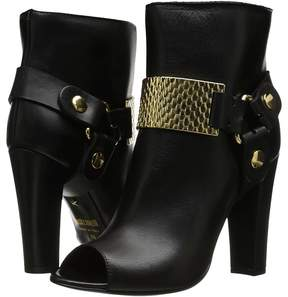 Just Cavalli Peep Toe Bootie with Gold Hardware Women's Boots